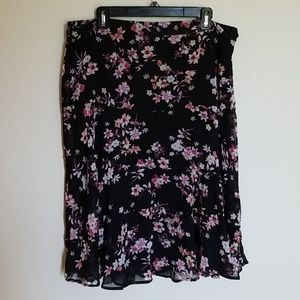 Christopher & Banks Black Floral Skirt 16 NWT